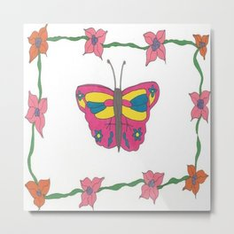 Butterfly and Blooms Metal Print