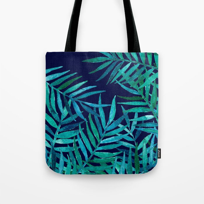 Watercolor Palm Leaves on Navy Tote Bag