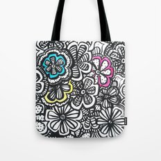 Doodle Birds and Flowers Tote Bag