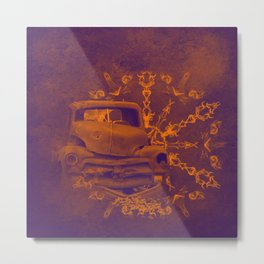 Abstract rusty car in purple and orange Metal Print