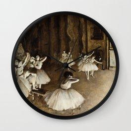 Edgar Degas - Ballet Rehearsal On Stage Wall Clock