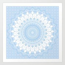 Baby Blue Boho Mandala Art Print