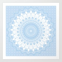 Baby Blue Boho Mandala Kunstdrucke