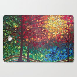 Winter sunset dot art by Mandalaole Cutting Board