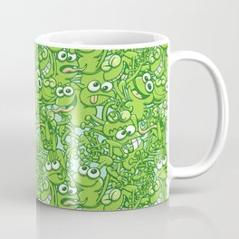 Funny green frogs entangled in a messy pattern Coffee Mug