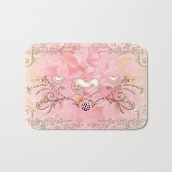 Wonderful hearts with flowers Bath Mat