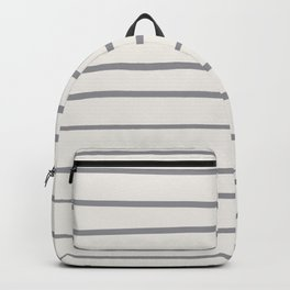 Grey and Off White Minimal Stripe Pattern 2021 Color Of The Year Ultimate Gray & Cloud Dancer Backpack