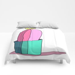 Pink and Green Cactus Drawing Comforters
