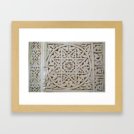 Carved Islamic Geometrical Pattern With A Star In A Circle Framed Art Print