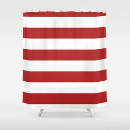Horizontal Stripes - White and Firebrick Red Shower Curtain