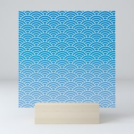 Seigaiha Gradient Blue Mini Art Print