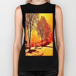 Winter Trees by the Lake Biker Tank