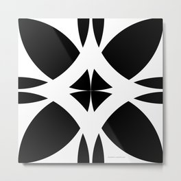 Abstract Flower Diamond - Black and White Metal Print