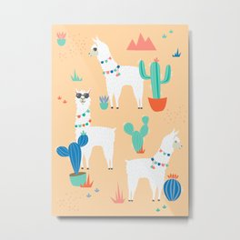 Summer Llamas Metal Print