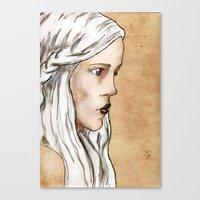 mother of dragons Canvas Prints featuring Mother of Dragons by Emily Duncan