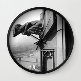 Gargoyle over looking the Main River, Frankfurt, Germany black and white photograph - photography by Karl Lämmel Wall Clock