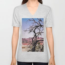 tree in the desert with mountain and blue sky in summer at Death Valley national park, USA Unisex V-Neck