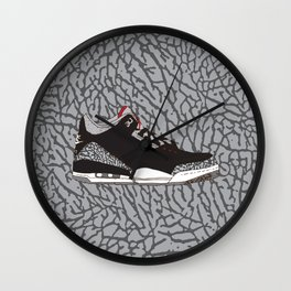 Jordan 3 Black Cement Wall Clock