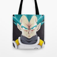 vegeta Tote Bags featuring Vegeta Portrait Painting by ADCArtAttack
