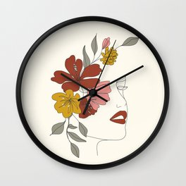 Colorful Thoughts Minimal Line Art Woman Face I Wall Clock