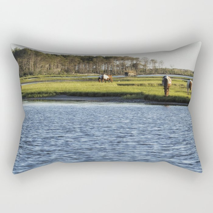 Chincoteague Ponies on Assateague Island Rectangular Pillow
