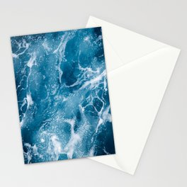 Aerial view on ocean floor turquoise waves, water surface texture Stationery Cards