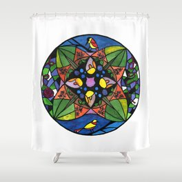 Watercolor Cat and Bird Stained Glass #1 by Artume Shower Curtain