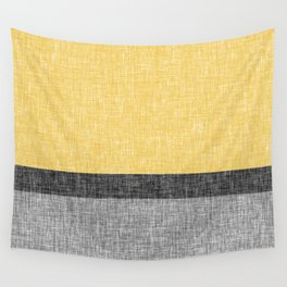 Yellow Grey and Black Section Stripe and Graphic Burlap Print Wall Tapestry