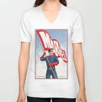 bucky V-neck T-shirts featuring Bucky Barnes by Arne AKA Ratscape