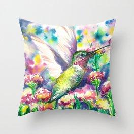 Hummingbird in flowers Throw Pillow