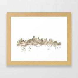 Boston Massachusetts Skyline Sheet Music Cityscape Framed Art Print