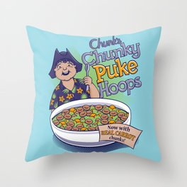 Chunk's Chunky Puke Hoops Throw Pillow
