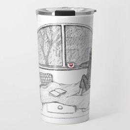 Rainy Day Window pencil illustration Travel Mug
