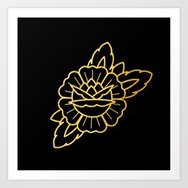 Gold Traditional Rose Art Print