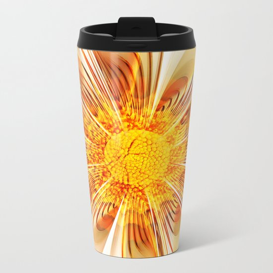Summer Fractal Flower Metal Travel Mug