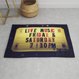 Live music sign Rug