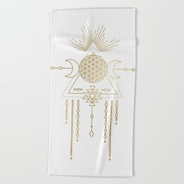 Golden Goddess Mandala Beach Towel