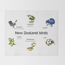 New Zealand Birds Throw Blanket