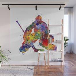 Boy Ice Hockey Goalie Colorful Watercolor Sports Art Wall Mural
