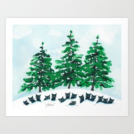 Veneto Whimsical Cats and Trees Art Print