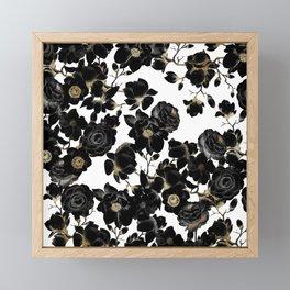 Modern Elegant Black White and Gold Floral Pattern Framed Mini Art Print