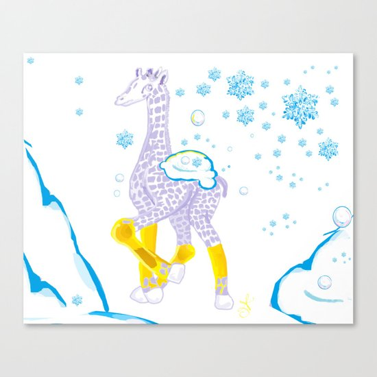 Winter is Coming - Midas is Ready - Christmas Lavender Giraffe Canvas Print