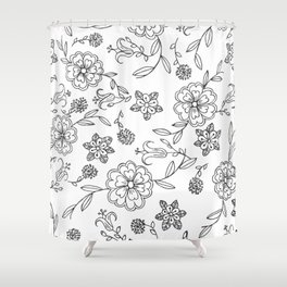 Floral pattern black and white 1 Shower Curtain