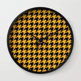 Houndstooth: Black & Gold Checkered Design Wall Clock