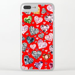 Heart Diamonds are Forever Love RED Clear iPhone Case