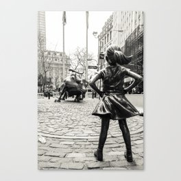 Fearless Girl & Bull - NYC Canvas Print