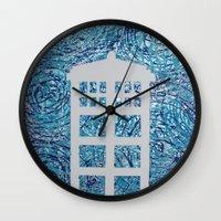 tardis Wall Clocks featuring Tardis by Sahara Novotny
