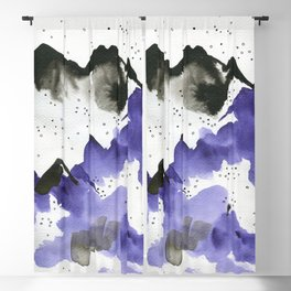 Purple and black on white Blackout Curtain