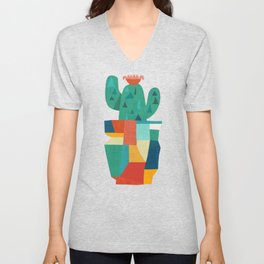 Blooming cactus in cracked pot Unisex V-Neck