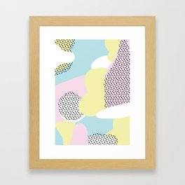 Candy Pink Blue Blobs & Dots Pattern Framed Art Print